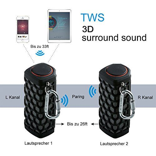 photo Wallpaper of Hapyia-Hapyia Draussen Tragbarer Bluetooth Lautsprecher, 3D Stereo Sound System (Schwarz)-Schwarz