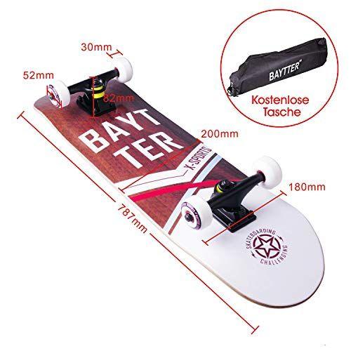 photo Wallpaper of Baytter-BAYTTER® Skateboard Komplett Board Funboard 79x20cm Mit 7 Lagigem Ahornholz-holzfarbig