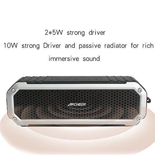 photo Wallpaper of Archeer-Bluetooth Lautsprecher, Archeer 10W Tragbarer Wasserdicht Lautsprecher Outdoor Bluetooth 4.0-Silber