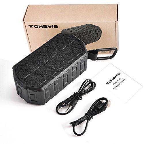 photo Wallpaper of ToHayie-ToHayie Bluetooth Lautsprecher Wasserdicht,IPX6 Outdoor Tragbarer Lautsprecher,Mobiler Bluetooth 4.2 Lautsprecher,1000mAh Akku,-Schwarz