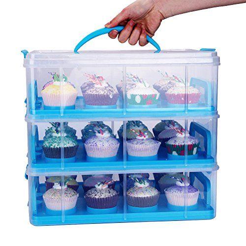 photo Wallpaper of HBlife-HBlife 3 Stöckig Cake Carriers Kuchenbehälter Mit Decke Bequemem Tragegriff Kuchenbox Tortenbutler-Blau
