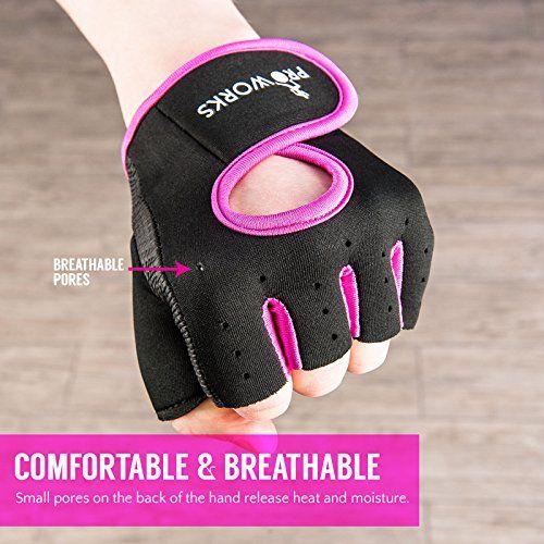 photo Wallpaper of ProWorks-Proworks Frauen Fingerlose Handschuhen Mit Gepolsterter Griffseite Zum Gewichtheben, Crosstraining, Heimtraining Und-Schwarz / Rosa