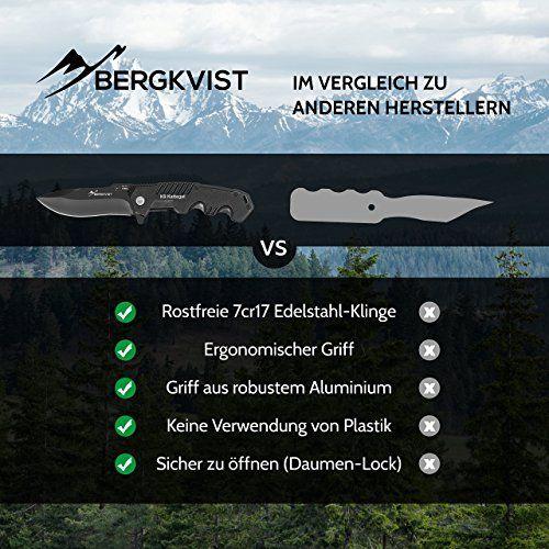 photo Wallpaper of BERGKVIST-BERGKVIST Klappmesser K9 [2018] Extra Scharf   Taschenmesser Mattschwarz Ideales Rettungsmesser, Angelmesser-schwarz
