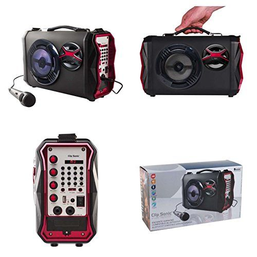 photo Wallpaper of Clipsonic-Tragbarer Bluetooth Lautsprecher Profi Karaoke Anlage Subwoofer Musik Box Tragbar Party Anlage (USB-