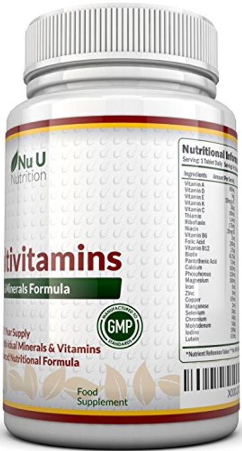 photo Wallpaper of Nu U Nutrition-MultiVitamins & Minerals Formula–24complemento Vitamínico (Vitaminas Y Minerales–végétarien–hombre/mujer–Cure D '1An/365Pastillas–Suplemento De Nu U Nutrition-