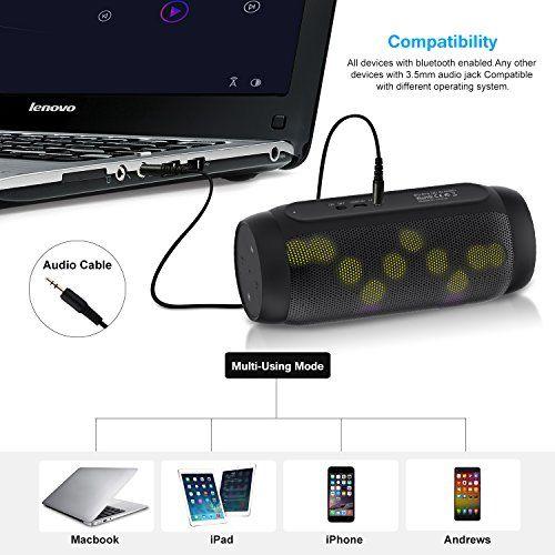 photo Wallpaper of EARAMBLE-Earamble LED Bluetooth Lautsprecher,10Watt, Portabel, Bluetooth 4.2, Hifi Stereo Sound, Wasser Spritzwassergeschützt, Eingebautes Mikrofon,-schwarz