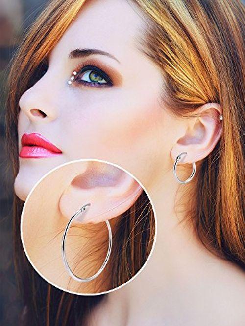 photo Wallpaper of Mudder-6 Paare Edelstahl Ring Ohrringe Set Ohr Hoop Rund Ohr-