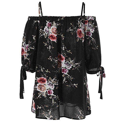 photo Wallpaper of OverDose Damen-Overdose Mode Damen Sommer Schulterfrei Oberteile T Shirt Plus Size-Schwarz