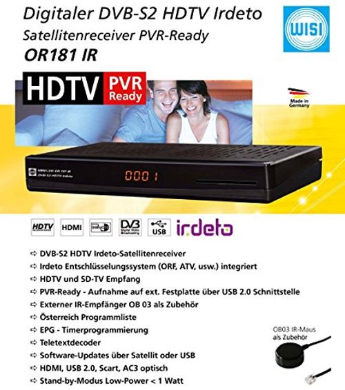 photo Wallpaper of WISI-WISI OR 181 IR HDTV Satreceiver Irdeto HD PVR Ready Schwarz Geeignet Für ORF-