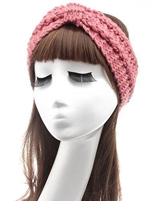 photo Wallpaper of Miya-Miya Elegant Strick Kopfband, Warmes Strick Stirnband Für Mädchen, Damen Haarband-Hellpink