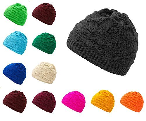 photo Wallpaper of 4sold-4sold Wave Damen Wurm Winter Wintermütze Style Beanie Mütze Wendemütze Mit Fellbommel HAT-Gray