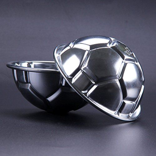photo Wallpaper of Cadillaps-Cadillaps 3D Fußball Kuchenform Aluminiumlegierung 2er Halbkugel Backform Tortendekoration Küchehelfer-Silber