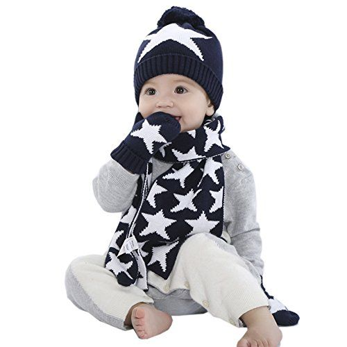 photo Wallpaper of iBaste_Kinder-[3 Tlg Baby Mütze] Pudelmütze + Schal + Handschuhe Set Sternenmuster Kindermütze Strickmütze-Blau