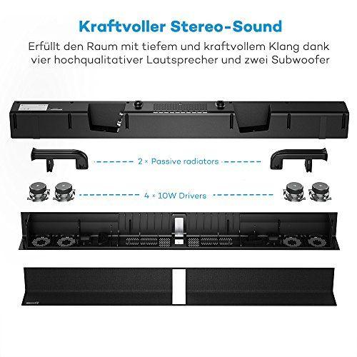 photo Wallpaper of TaoTronics-Soundbar Bluetooth Lautsprecher TaoTronics, 2.0 Kanal, 2 Kabellose Subwoofer, 40W Lautsprecher, Doppelte Verbindungsmöglichkeiten, Mit-schwarz