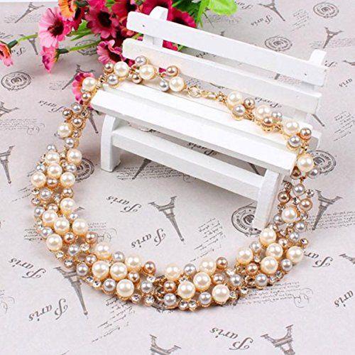 photo Wallpaper of LCLrute-LCLrute Halskette Damen Multi Row Strand Perle Perlen Torsade Lätzchen Halskette Ohrringe-