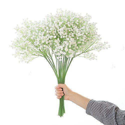 photo Wallpaper of JUSTOYOU-JUSTOYOU Tall Gypsophila Künstliche Blumen White Fake Blumen Für Zu Hause Hochzeit Party-weiß