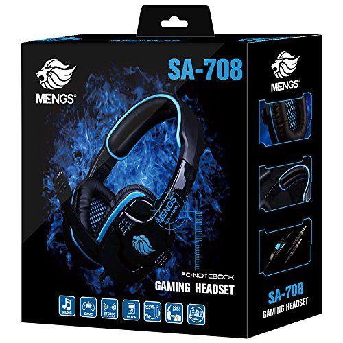 photo Wallpaper of MENGS®-MENGS® 2.2m Kabel Stereo Headset SA708 PC Gaming 3,5 Mm Klinkenstecker Kopfhörer Und Mikrofon-708Blau