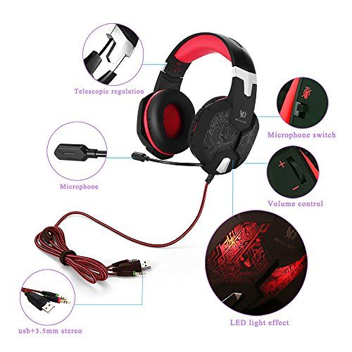photo Wallpaper of marsboy-PC&PS4 Gaming Headset, Marsboy Gaming Kopfhörer Mit Mikrofon LED Effekt Für-Rot