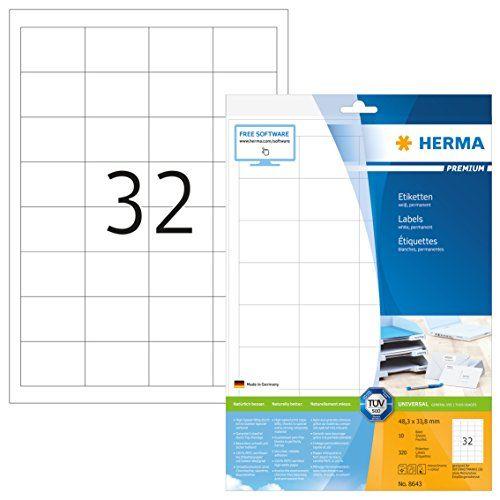 photo Wallpaper of Herma-Herma 8643 Universal Etiketten (48,3 X 33,8 Mm) Weiß, 320 Aufkleber,-weiß