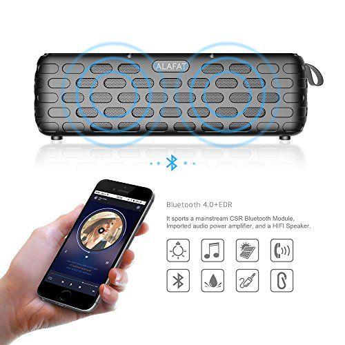 photo Wallpaper of ALAFAT-Bluetooth Lautsprecher Solar Außen Lautsprecher Dual Treiber HD Stereo SoundBox Wirelss-Black