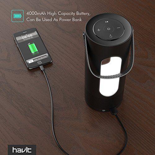 photo Wallpaper of HAVIT-Bluetooth Lautsprecher, HAVIT LED Kabelloser Lautsprecher, 360 Grad Super Bass,-Schwarz