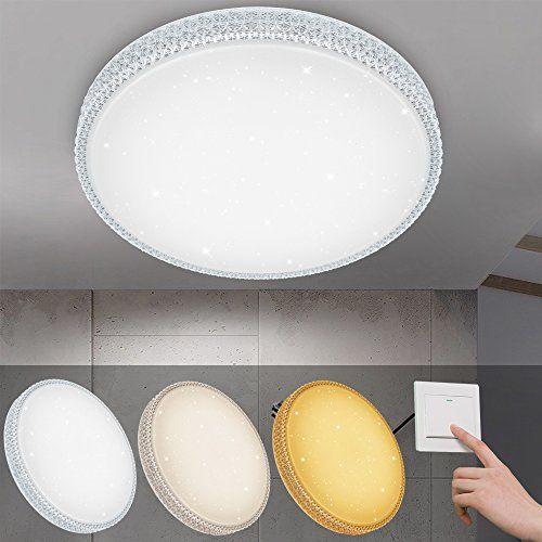 photo Wallpaper of VINGO-VINGO® 50W LED Deckenleuchte Starlight Design Wandlampe Wohnraum Schlafzimmer Lampe Farbwechsel Rund-50w Farbwechsel Runde Kristall Rahmen