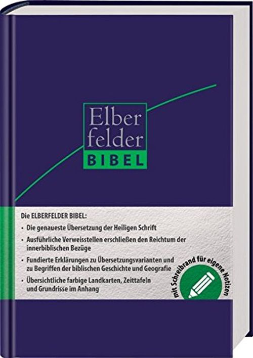 photo Wallpaper of -Elberfelder Bibel   Mit Schreibrand, Ital. Kunstleder Dunkelblau-