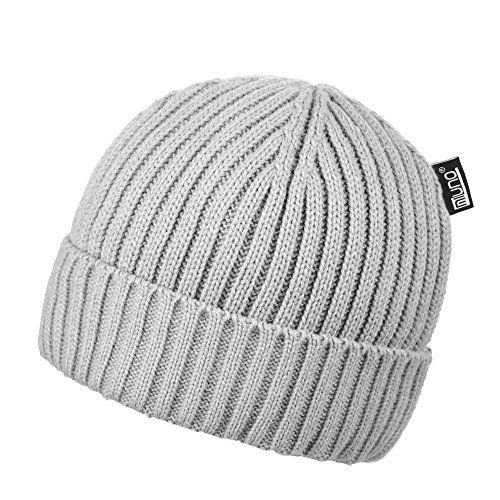 photo Wallpaper of Miuno-Miuno® Teddyfutter Beanie Wintermütze Strickmütze MB1609 (Grau)-Grau