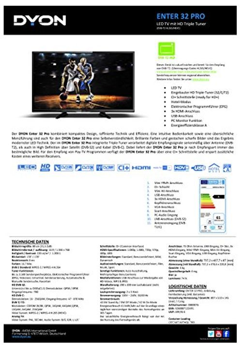 photo Wallpaper of DYON-Dyon Enter 32 Pro 80 Cm (32 Zoll) Fernseher (Triple Tuner)-schwarz