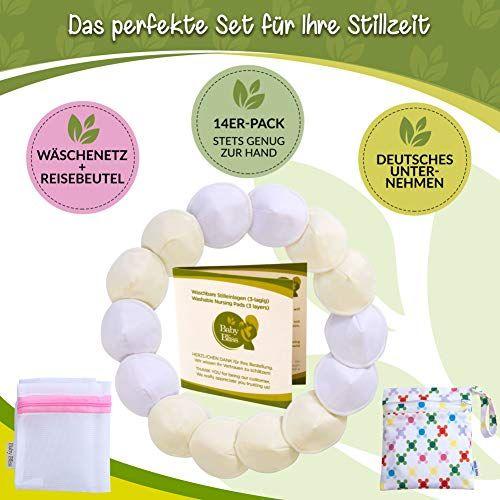 photo Wallpaper of Baby Bliss-Baby Bliss Waschbare Bambus Stilleinlagen Konturiert (14er Pack) (Weiss/Beige, 12cm)-Weiss/Beige