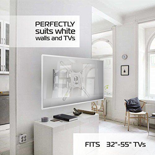 photo Wallpaper of ONKRON-ONKRON Wandhalterung TV Schwenkbar Neigbar Universal LCD Wandhalter Ausziehbar Fernseher Halterung-Weiß