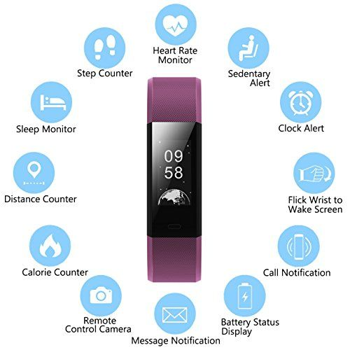 photo Wallpaper of Muzili-Fitness Tracker Muzili Sport Fitness Armband Laufen Wristband Fitness Band Schrittzähler Mit Herzfrequenz Monitor-Violett
