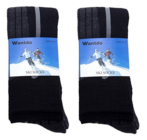 photo Wallpaper of Wantdo-Wantdo Herren Knee Socke Full Kissen Skisocken Grau-2 Paar Grauschwarz