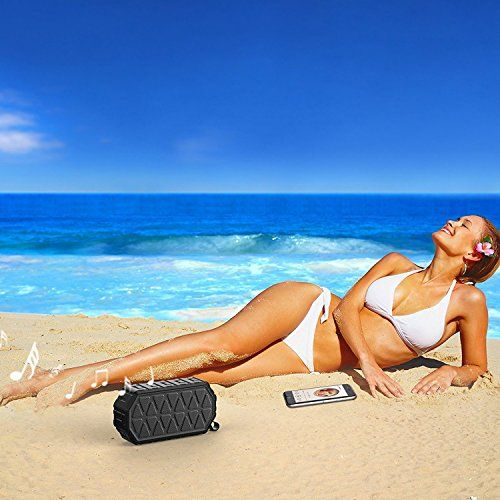 photo Wallpaper of ToHayie-ToHayie Bluetooth Lautsprecher Wasserdicht,IPX6 Outdoor Tragbarer Lautsprecher,Mobiler Bluetooth 4.2 Lautsprecher,1000mAh-Schwarz