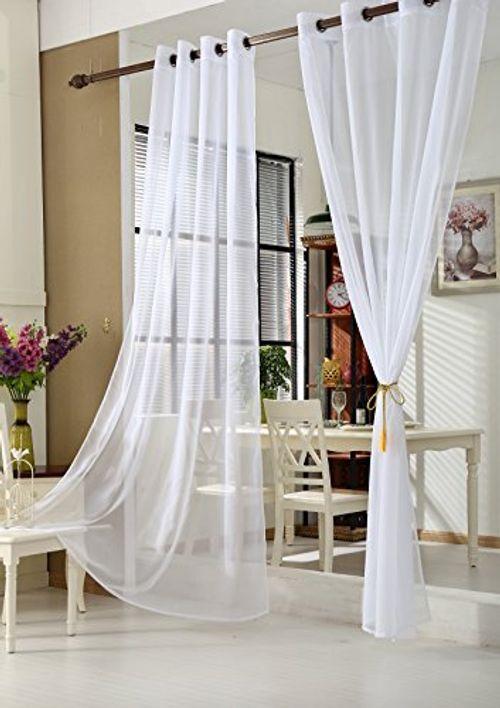 photo Wallpaper of WOLTU-WOLTU VH5513ws 2, 2er Set Gardinen Vorhänge Transparent Mit Ösen Stores, Doppelpack Ösenvorhang-Weiß