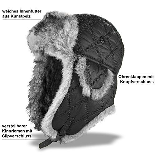 photo Wallpaper of BlackSnake-Fliegermütze Fellmütze Winter Mütze Russian Style   Schwarz   XL-Schwarz