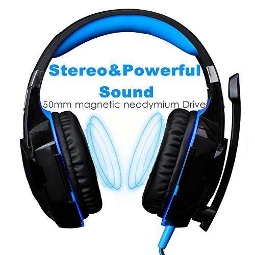 photo Wallpaper of ArkarTech-Headset Gaming PC ArkarTech Mikrofon Kopfhörer Gamer Ultra Leichtes Einstellbare Bass Stereo-Blau