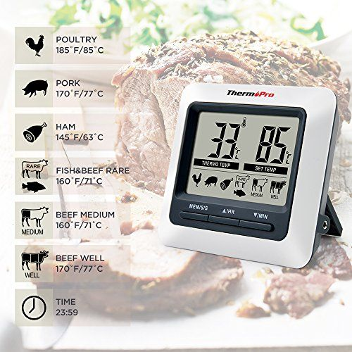 photo Wallpaper of ThermoPro-ThermoPro TP04 Digital Bratenthermometer Grillthermometer Ofenthermometer Fleischthermometer Mit Integriertem Countdown-Grau