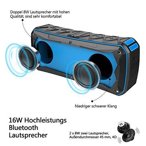 photo Wallpaper of Nicksea-Tragbarer Bluetooth Lautsprecher , Nicksea Portable Speaker Outdoor 16W IP6 Wasserdicht Wireless HIFI Stereo-blau