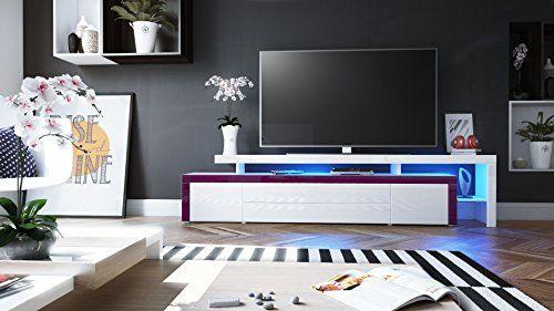 photo Wallpaper of Vladon-TV Board Lowboard Leon V3, Korpus Und Überbau In Weiß Hochglanz-Weiß Hochglanz / Brombeer Hochglanz