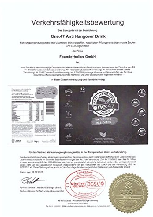 photo Wallpaper of One-One:47 ® Anti Hangover Drink | 12 Sticks | PATENTIERTE FORMEL | Hochkonzentriert &-