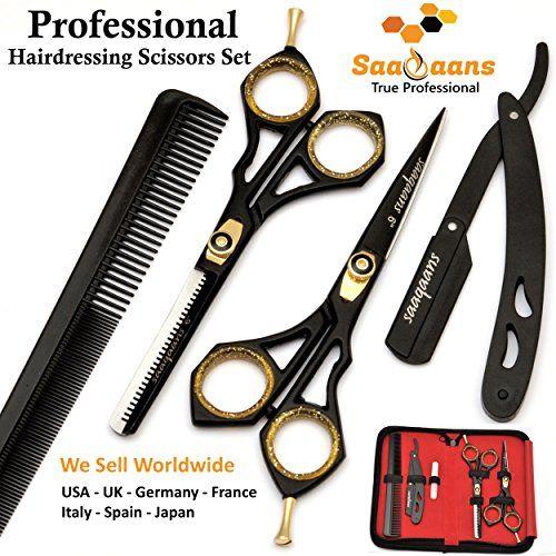 photo Wallpaper of Saaqaans-Saaqaans SQKIT Tijeras De Peluquería Barbero Profesional Conjunto   Acero Inoxidable-Black Scissors Set