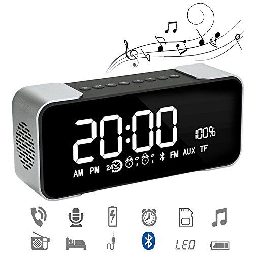 photo Wallpaper of Daxstar-Bluetooth Wecker Radio Bluetooth Lautsprecher Portable Kabelloser Lautsprecher Treiber Mit Eingebauten Mikrofon, TF-Grau