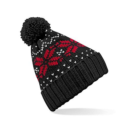 photo Wallpaper of Beechfield-'Fair Isle Snowstar Beanie' Beechfield   Klassisch Gemusterte Wintermütze-French Navy/White