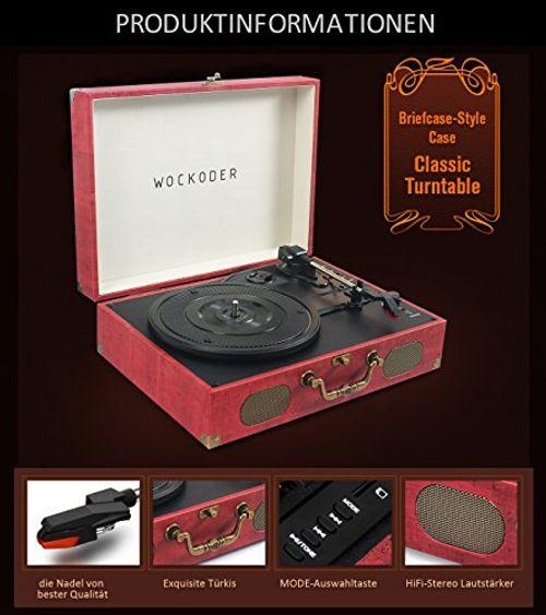 photo Wallpaper of WOWOTO-Wockoder Turntable Vinyl Plattenspieler Koffer Vintage Retro Bluetooth USB Nostalgie Schallplattenspieler-Dunkel Rot