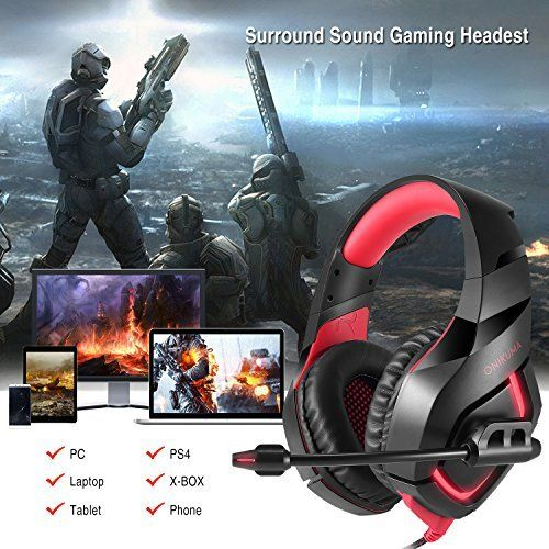 photo Wallpaper of ONIKUMA-Onikuma PC Gaming Headset, 3,5mm Stereo PS4, Xbox One Gaming Headset, USB LED Over-rot