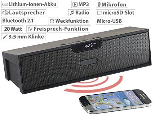 photos of Auvisio Audio Lautsprecher: Stereo Lautsprecher, Bluetooth, Freisprecher, MP3, Radio, Wecker, 20 W (Lautsprecher Mit Freisprecheinrichtung) Heute Deals Kaufen   model Speakers
