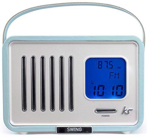 photo Wallpaper of KitSound-KitSound Swing FM Radio Mit Wecker Alarmfunktion Batterie  Oder-Hellblau