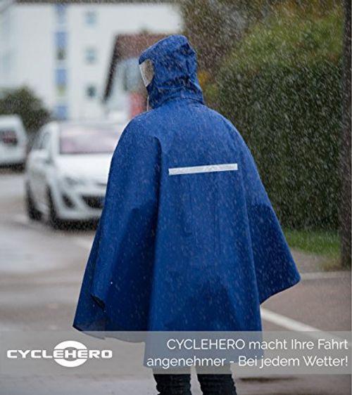 photo Wallpaper of CYCLEHERO-Premium Fahrrad Regenponcho Mit Kapuze Inkl. Sichtfenster   Fahrradponcho Für Herren Und Damen-blau