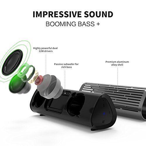 photo Wallpaper of meidong-Bluetooth Lautsprecher, [12W Metall Shell] Meidong 2110Wireless Lautsprecher, Tragbare Lautsprecher Mit Satten Bass-grau